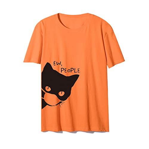 Lazzboy Store Damen Kurzarm Girlie T-Shirt Bedruckt Katze Haustier Cat Frauen Casual Print O-Ausschnitt Bluse Tops(Orange,2XL)