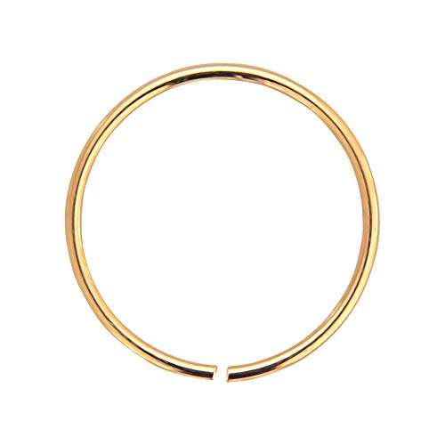 AZARIO LONDON 14K Rose Gold 24 Gauge (0.4MM) - 9MM Diameter Seamless Continuous Nose Hoop Ring
