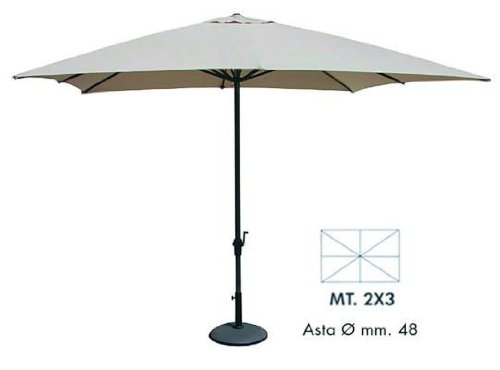 Vette CDF00909 Ombrellone con Manovella, Rettangolare, Alluminio, Beige