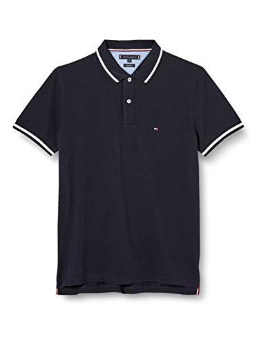 Tommy Hilfiger Herren Contrast Tipped Regular Polo Hemd, Blue, X-Small