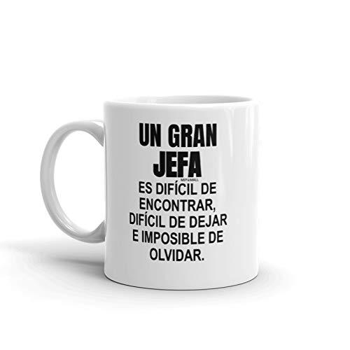 Un gran jefa es difícil de encontrar - regalos colega, regalos para compañeros, regalo para jefe, tazas desayuno originales, taza regalo, trabajo mujer hombre Navidad