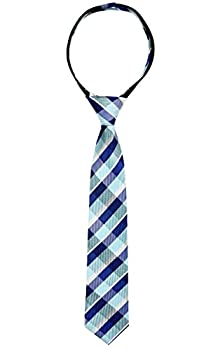 Spring Notion Boys  Pre-tied Woven Zipper Tie Large Blue Checkered