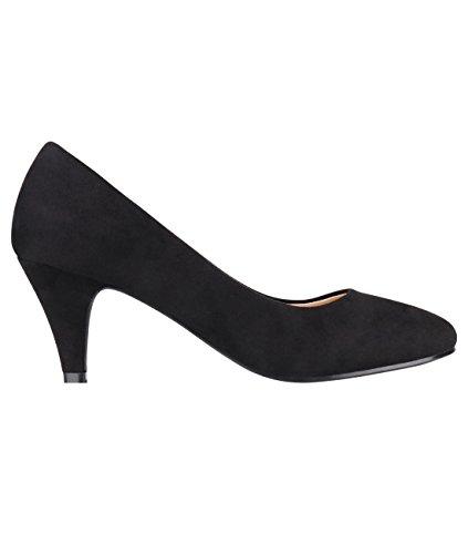 5792-BLK-3, KRISP Zapatos Tacón Salón Elegantes Fiesta, Negro (5792), 36