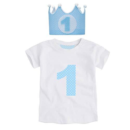 Kembilove Corona de Primer Cumpleaños con Camiseta – Adorable Conjunto de Cumpleaños de 1 Año para Niños y Niñas – Corona Ajustable Ideal para Fiestas de Cumpleaños Lunares Azul