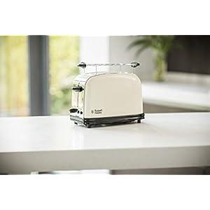 Russell Hobbs 23334-56 Toaster, Grille Pain Extra Large Colours Plus, Cuisson Rapide et Uniforme, Contrôle Brunissage, Chauffe Viennoiserie - Crème