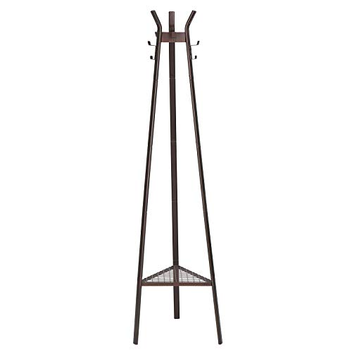 SONGMICS Coat Rack Stand Entrance Coat Tree Modern Style with 3 Branches 6 Hooks and Bottom Mesh Shelf for Clothing Hats Bags Hallway Entryway Office Bronze URCR25A