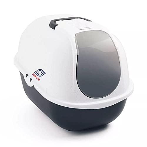 Cat Flip Litter Tray Dark Grey & White Box Hooded Pan Toilet Charcoal Filter Deep by AJS Ltd
