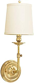 Hudson Valley Lighting 171-AGB Logan 1-Light Wall Sconce-Aged Brass Finish with Off White Linen Shade
