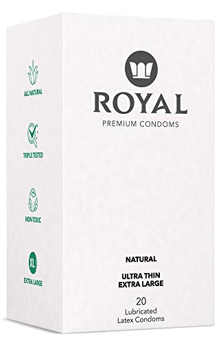 Royal XL Ultra Thin Condoms - Lubricated with Unflavored Edible Lubricant - Strong, Non-Toxic Latex, All Natural, Organic, Cruelty Free, Vegan, Premium 20 Pack (X-Large)