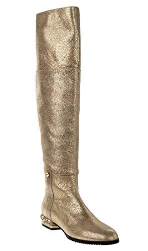 "Marino Fabiani 6619 Gold Leather 1"" High Heel Women Italian Designer Boots"