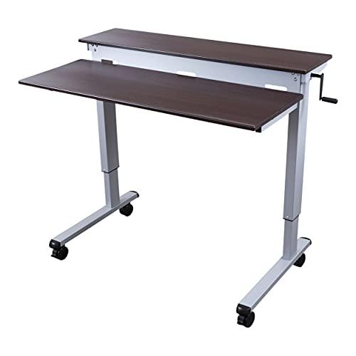 Stand Up Desk Store Crank Adjustable Tier Standing Desk with Heavy Duty Steel Frame (Silver Frame/Dark Walnut Top, 48' Wide)