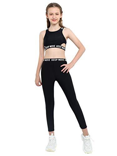 dPois Ensemble Sport Fille Enfant 2 Pièces Brassière Sport Pantalon Yoga Fitness Jogging Legging Élastique Collant Danse Crop Top sans Manches Vêtement Athlétique 3-16 Ans Noir D 11-12 Ans