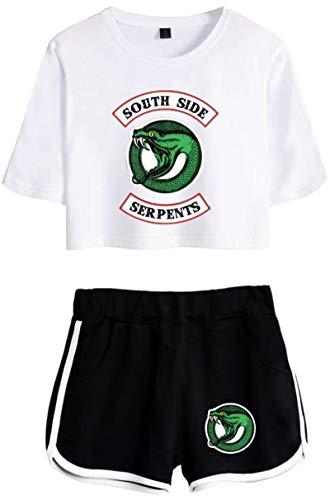 EMILYLE Bambine E Ragazze T-Shirt Riverdale Southside Serpents Sets Maglietta E Pantaloncini per Girls M,Bianco O Serpents 2