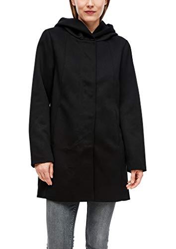 Q/S designed by - s.Oliver Damen Kapuzenmantel aus Interlockjersey black M