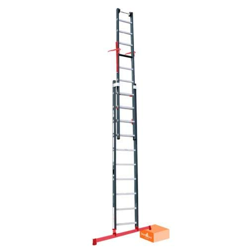 Alumexx Smart Level Ladder - Premium Met Topsafe Systeem - 2 Delig - 2x14 - Schuif - Ladder - Antislip - Top Safe - Leveling Systeem - 6.75 Lang (Uitgeschoven)