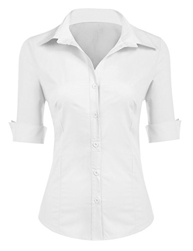UNibelle Camicia da Donna Aderente a Maniche a 3/4 Bianco S