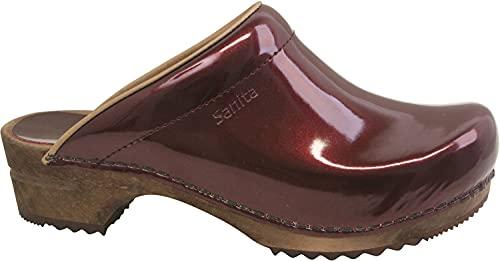 Sanita Classic   Zoccoli Aperti da Donna   Zoccoli in Pelle con Suola in Legno   Prodotto Originale Fatto Mano   Rosso Bordeaux   36