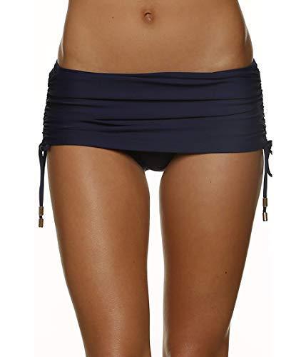 Helen Jon Women's Resort Essentials Ruched-Waist Hipster Bikini Bottom, Navy Solid, Small