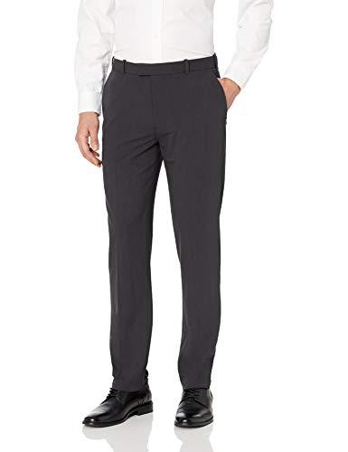 Van Heusen Men's Flex Straight Fit Flat Front Pant, Charcoal, 34W x 30L
