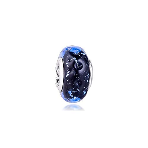 Pandora 925 Jewelry Bracelet Natural Wavy Dark Blue Murano Glass Charms Sterling Silver Charm Beads For Women Diy Gift