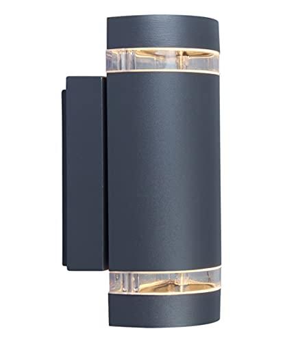 Außenwandleuchte Focus in Anthrazit,Wandleuchte m. GU10-Fassung, max. 35 Watt, Außenleuchte mit Up & Down-Effekt, geeignet für alle GU 10 Leuchtmittel,IP44 Spritzwassergeschützt Wandlampe