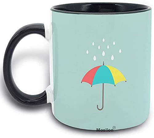 Regenschirm, süßer Regenschirm, mit Regentropfen, Punktmuster, Teetasse, 325 ml, Keramik, Weinbecher für Damen und Herren, zu Hause, Jungen und Mädchen, Grün