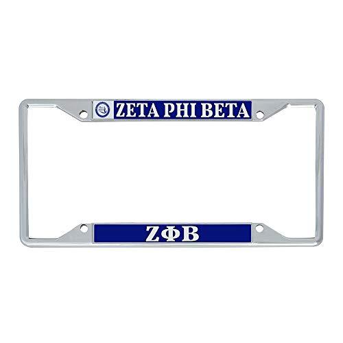 Desert Cactus Zeta Phi Beta Sorority Crest Seal Metal License Plate Frame for Front or Back of Car Officially Licensed (Crest LP Frame)