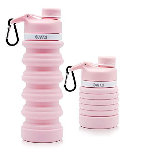 ONTA Botella De Agua Plegable-Botella De Agua Plegable De Silicona Libre De BPA para Viajes,Aprobada por La FDA,Botella De Agua Portátil De Silicona De Grado Alimenticio a Prueba De Fugas para Viajes