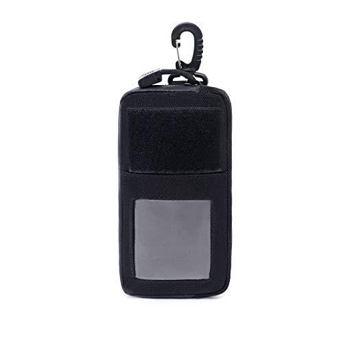Iycorish Portefeuille en Plein Air Sac de Carte Porte-CléS éTanche à GlissièRe Sac de Poche Sac de Taille de Sac à Main de Chasse Molle Noir
