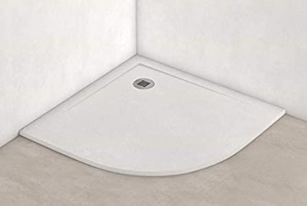 Plato ducha resina antideslizante textura pizarra Smooth Bricodomo 90x90 Semicircular Blanco