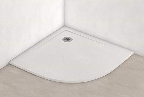 Plato ducha resina antideslizante textura pizarra Smooth Bricodomo 90x90 Semicircular...