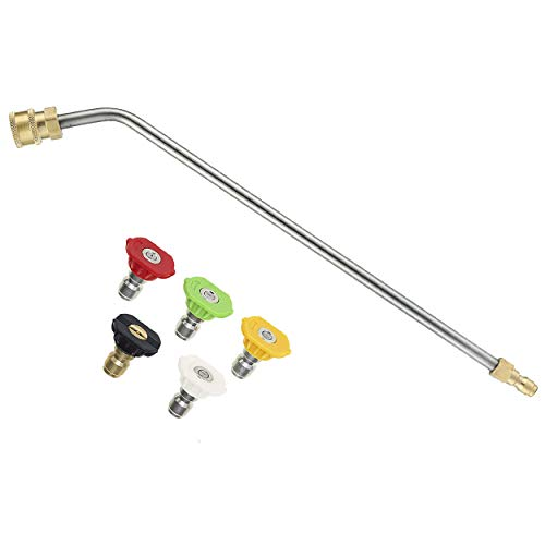 RIDGE WASHER Pressure Washer Extension Wand, 45 Degree Curved Angled Attachment Lance for Undercarriage and Gutter Rod, 1/4 Quick Connect, 15 Inch