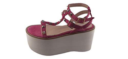 Un Paso Más - Sandalia Cuña Ante Tachuelas (AND887) - Color Rosa - Zapato Tacón Casual Verano Mujer Talla 40