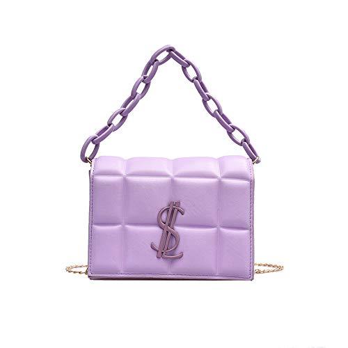 yunya Damen kleine Tasche mit Kette Mode Ein-Schulter-Umhängetasche Tragbare kleine quadratische Tasche-Violett