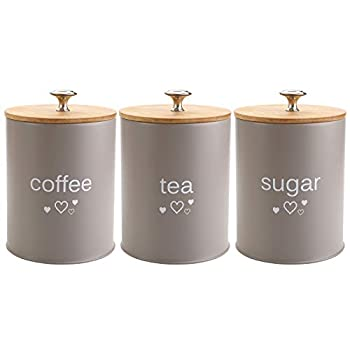 Fasmov Set of 3 Kitchen Canister Set Coffee Sugar and Tea Storage Container Jars with Bamboo Lids for storing Sugar Coffee and Tea Gray