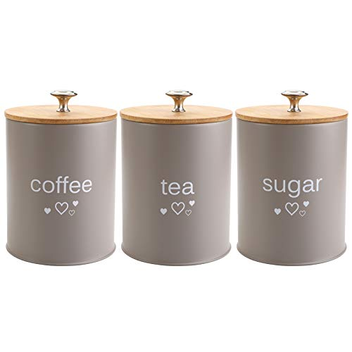 Fasmov Set of 3 Kitchen Canister Set, Coffee, Sugar, and Tea Storage Container Jars with Bamboo Lids for storing Sugar, Coffee and Tea, Gray