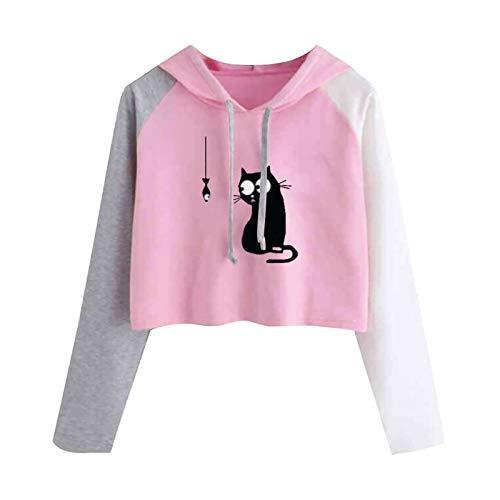Sudadera con capucha para mujer, diseño de gato y pescado, color raglán, manga larga, con cordón