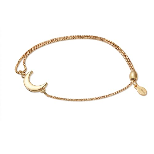 Alex and Ani Path of Symbols Adjustable Pull Chain Bracelet for Women, Moon Charm, 14K Gold Plated Sterling Silver, 5.5 to 9.5 in