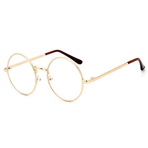 Suertree Klassisches Brillenrahmen Metall Brillenfassung Rund Vintage Optiker Retro Brillengestelle für Damen Herren Gold