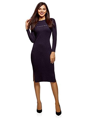 oodji Ultra Mujer Vestido Midi Texturizado, Morado, ES 34 / XXS