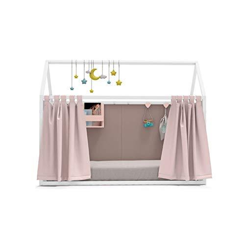 Möbel ROS Bett Haus lackiert mit der Vorhänge und–158,5x 202x 102cm–Weiß/Brombeer