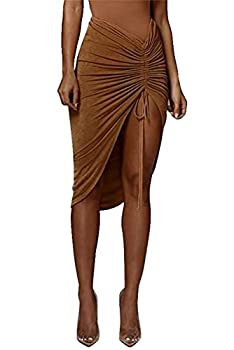 PRIMODA Women s Asymmetrical Bodycon Drawstring Ruched Maxi Skirt with Thigh High Slit Brown S