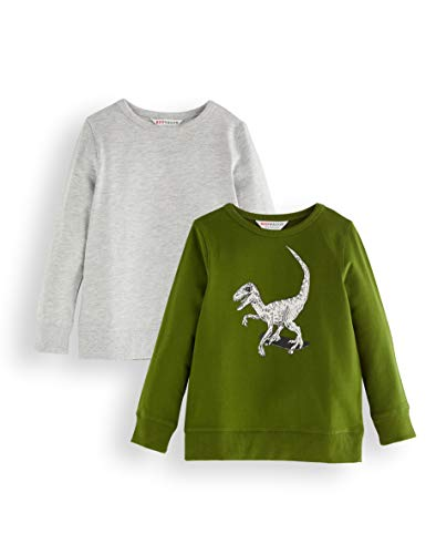 Amazon-Marke: RED WAGON Jungen Sweatshirt, 2er-Pack, Mehrfarbig (Grey and Green), 152, Label:12 Years