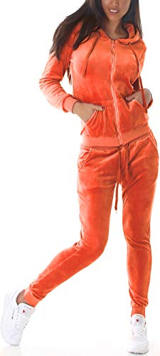 Jela London Damen Nicki Hausanzug Jogginganzug Velours Samt Jogginghose Freizeithose Kordel Tunnelzug Jacke, Orange 34 36 (S)