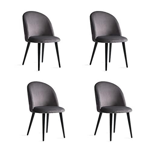 Esstisch Esszimmer Stühle Aus Samt und Holz Esszimmerstuhl 4er Set Küchenstühle mit Rückenlehne Dining Chair für Esszimmer Wohnzimmer Essstühle Esszimmer Set Grau