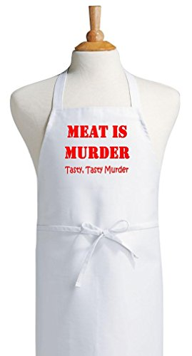 Meat is Murder Funny Novelty Cooking Aprons, White, One Size Fits Most