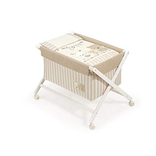Interbaby Love - Minicuna de madera + textil, color blanco/beige