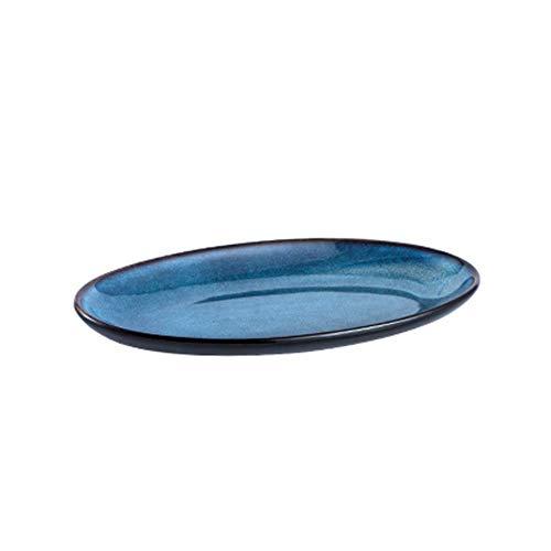 Plato de cena Plato de pescado de gran capacidad Plato de cerámica Plato de porcelana creativo ovalado grande Plato de desayuno Plato de bola de masa plano occidental - Plato de porcelana japonesa
