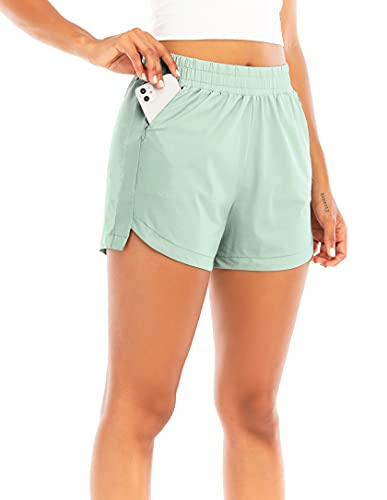 """RUNNING GIRL Women's 3"""" Running Quick-Dry Athletic Shorts with Zipper Pockets Elastic Waist Gym Outdoor Beach Hiking Volleyball (DK2730_Pea Green_M)"""