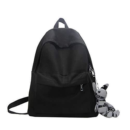XMYNB Vintage Sense Schoolbag Canvas Mochila Fashion Wild Mochila De Gran Capacidad Colgante De Regalo Negro 29 * 13 * 40Cm